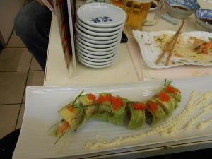 Avocado caterpillar sushi